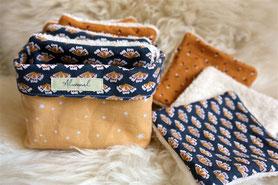 Lingettes lavables 100% coton cousu main