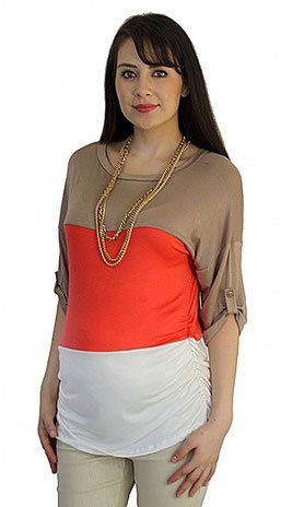 long sleeve maternity top cream white, coral, mocha