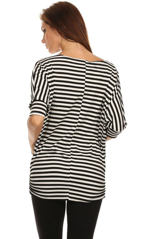 maternity tunic black and white stripe