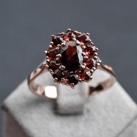 Granatring Rotgold, 60er Jahre Ring, Rosegold, mishmish Unikatschmuck