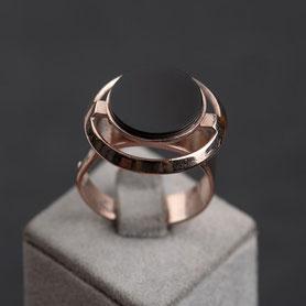 Ring Onyx Rosegold, Vintage Ring, Rotgold, nachhaltiger Schmuck, mishmish, fairer Schmuck