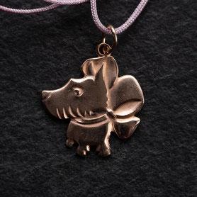 Anhänger Kette Hund, Roségold, mishmish Unikatschmuck, Anhänger Hund Rosegold, Kette Hund Rosegold, Schoßhund Anhänger Silber