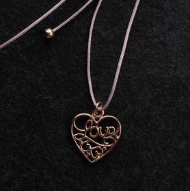 Anhänger Herz Unikat, Love Anhänger einzelstück, Herz rosegold, mishmish Unikatschmuck München, Kette Love Gold, nachhaltiger Schmuck, sustainable jewelry, Kette längenverstellbar