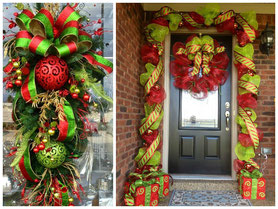 decoración navideña puerta