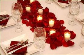 decoracion petalos san valentin