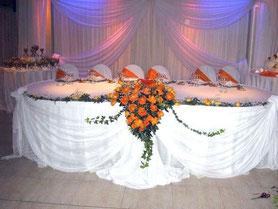 tela en la mesa principal