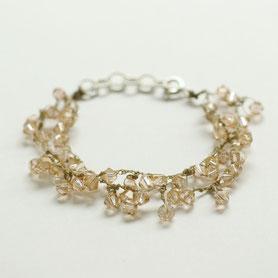 champagne armband swarovski gehaakt, swarovski sieraden, handgemaakte sieraden