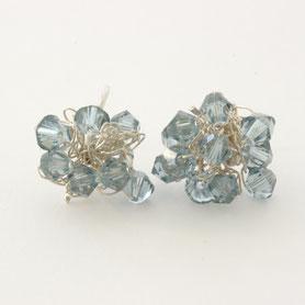swarovski oorbellen jeansblauw, swarovski sieraden, handgemaakte sieraden