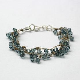 armband swarovski jeansblauw, swarovski sieraden, handgemaakte sieraden