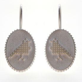 zilveren duifjes oorbellen kruissteek