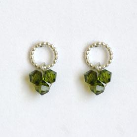 swarovski oorbellen olijf, swarovski sieraden, handgemaakte sieraden