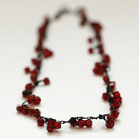 swarovski ketting gehaakt, swarovski sieraden, handgemaakte sieraden