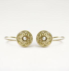 gouden munt oorbellen met parel