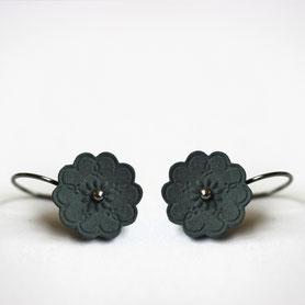 zwart porseleinen oorbellen, zilveren haak