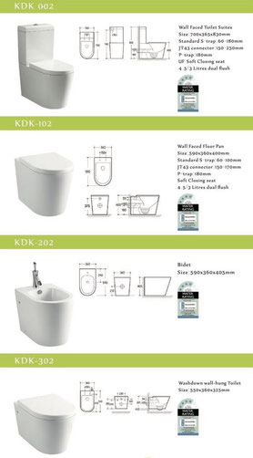 KDK Toilets, back to wall, closed couple, KDK 002, KDK 102, KDK 202, KDK 302, Bidet, wall facing, wall faced