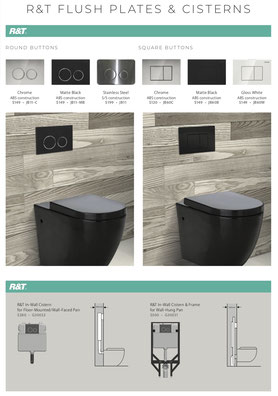 Fienza toilet flush plates,  chrome, matte black, stainless steel, round buttons, square buttons, gloss white