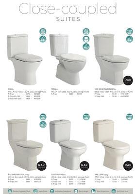 Fienza closed couple toilets. p trap, s trap, Chica, Washington white, Washington ivory, Liwa ivory