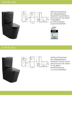 KDK wall faced toilets, back to wall, black, p-trap, s-trap, KDKB008, KDKB-003