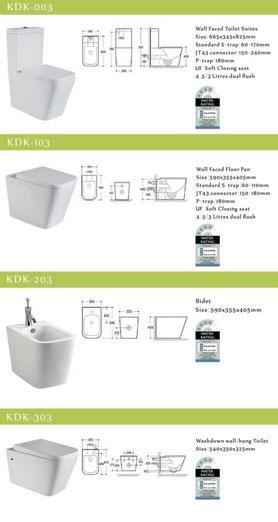 KDK walling facing toilets and bidet, back to wall, KDK 003, KDK 103, KDK 203, KDK 303
