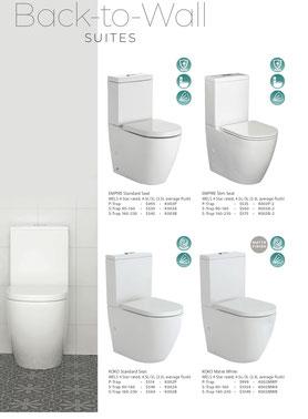 Fienza toilets, back to wall, Empire standard seat, Empire slim seat, Koko standard seat, Koko matte black, p trap, s trap