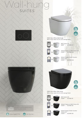 Fienza wall hung toilets, Koko gloss white, Koko gloss black
