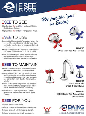 Ewing Industries ESEE Range Tapware Mixers Showers Bathroom Accessories Blind Visually Impaired