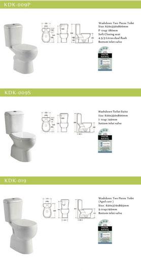 KDK wash down toilet, soft close seat
