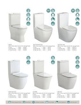 Fienza back to wall toilets, p trap, s trap, Delta, Alix standard seat, Alix slim seat, Koko slim seat, Luciana, Lincoln