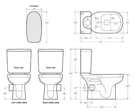 Modern Liwa Ceramic Skew Closed Coupled Suite - Modern Ceramic Skewed Toilet Suite - Right Skew Trap, set out skew trap 185mm, WELS 4 star rating, 4.5/3L