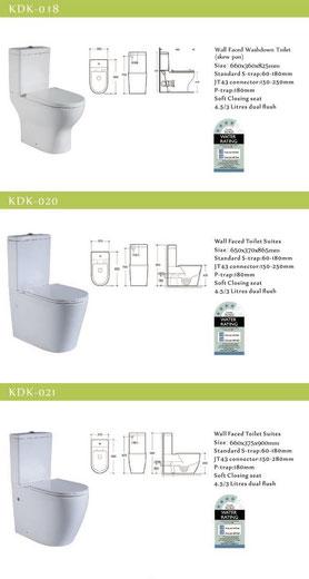 KDK wall facing toilets, back to wall, p-trap, s-trap, KDK018, KDK020, KDK021