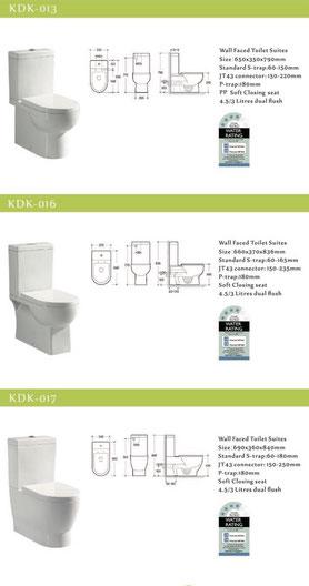 KDK wall faced toilet, back to wall, p-trap, s-strap, KDK013, KDK016, KDK017