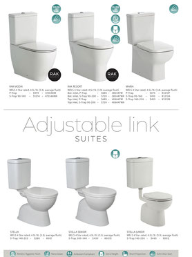 Fienza back to wall toilets, p-trap, s-trap, RAK Moon, RAK Resort, Maria, Stella, Stella senior, Stella junior
