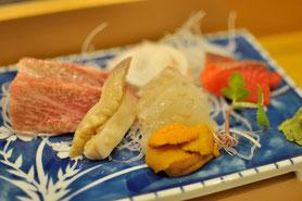 札幌「あら政」のお造り。ただしこれは去年のもので、期間限定コース料理の一部です