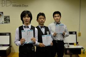 優勝の小宮鐘之介選手18歳、以下、高山選手&金井選手