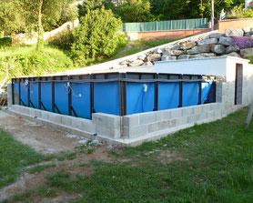 installation piscine hors sol et enterree sans dalle béton Alba alès près d'uzès