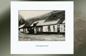 zwart-wit foto van een boerderij-schutpenning.