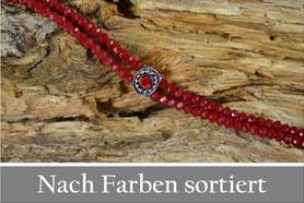 Kropfkette rot mit facettierten Perlen