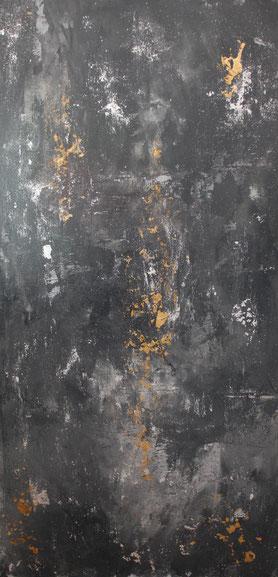"""Trilogie 3 Grau"", Acryl auf Leinwand, 60x120 cm"