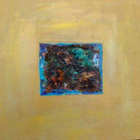 """Oxidation 3"", Acryl und Oxidationslösung auf Leinwand, 50x50 cm"