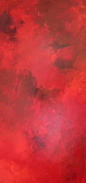 """""""Trilogie 1 Rot"""", Acryl auf Leinwand, 60x120 cm"""