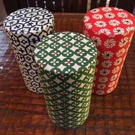 京都・型染め和紙 茶缶
