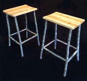 Soap tree stools x 2, soap tree seats & green wood soap tree sapling legs, natural wax finish. SOLD