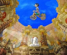 oeuvre Rome antique - art fantastique artiste - tableau sur le fantastique - oeuvre d'art fantastique - tableaux fantastiques - toile fantastique - oeuvres surréalistes - peinture numérique - artiste italien - oeuvre fantastique - tableau fantastique -
