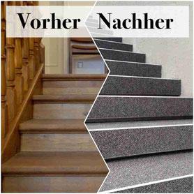 Holztreppe mit Steinteppich belegen