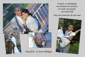 exemple de carte de remerciement avec photos des mariés