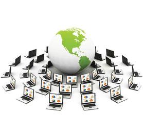 Internet-Cloud-Computing ermöglicht weltweit abrufbare Daten mit Möglichkeit zur externen Analyse