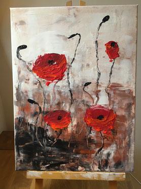 Malerei, Mohnblüten, Acryl, Kunst