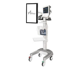 AMICO, モニターカート, ワークステーションカート, 医療機器, ダブルアーム, 生体情報モニター, トレイ, 病院用