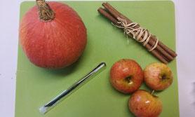 Ingrédients de la recette de la compote de pomme et potimarron aux épices