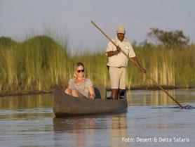 Botswana Flugsafari Kanufahrt im Okavango Delta